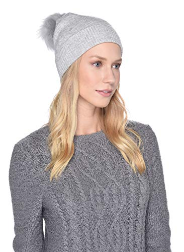 Ugg Shearling Hat - UGG Women's Luxe Knit with Sheepskin Pom Hat Light Grey One Size