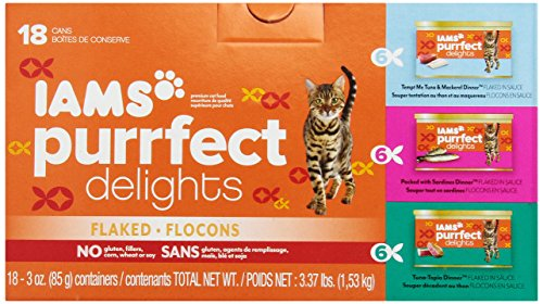 Iams Purrfect Delights Tempt Me Tuna and Mackerel Dinner Packed with Sardines Dinner Tuna-Topia Dinner Cat Food 3-Ounce 18 cans