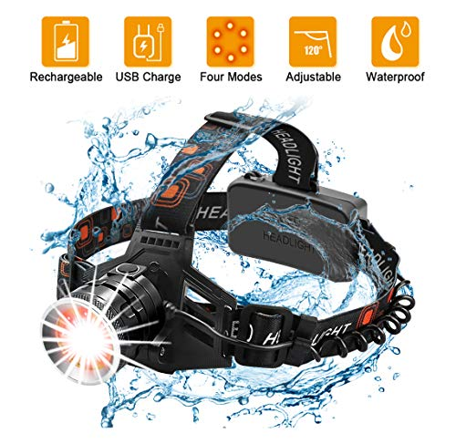 Wsky LED Headlamp, Head Flashlight Rechargeable, Waterproof and Durable, 4 Modes, White+Red Light, Perfect for Camping, Biking, Hunting, Outdoors (18650 Batteries Included)