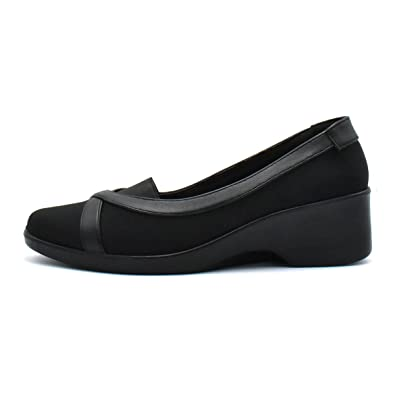fe40c5d4f1636 Women Wedge Comfort Walking Shoes Elastic Cushion (7, Black)
