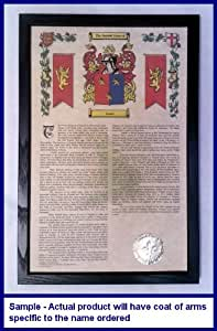 Leyde Armorial History with Coat of Arms on 11 x 17 Parchment Paper in Black Wood Frame