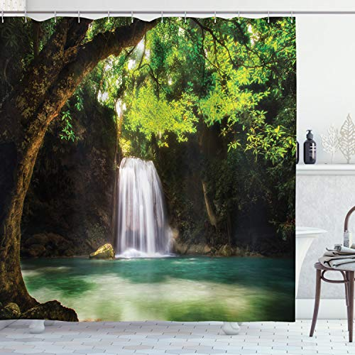 Ambesonne Natural Waterfall Decor Collection, Waterfall Flowing to Lake Deep Down in the Forest Secret Paradise Photo, Polyester Fabric Bathroom Shower Curtain, 84 Inches Extra Long, Green Brown White (Paradise Collection Fabric)