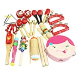DEHANG 16 Piece Wooden Roll Drum Musical Toy Instruments Kit for Kids Children and Baby Gift Set - Pink