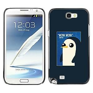 Pingüino lindo de la acuarela de los rosas bebés- Metal de aluminio y de plástico duro Caja del teléfono - Negro - Samsung Note 2 N7100
