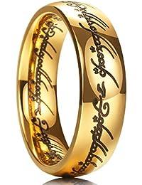 MAGIC anillo de Titanio de 7mm chapado en oro, Señor de los anillos, ajuste cómodo, alianza para hombre y mujer