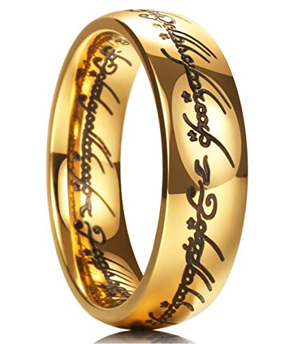King Will 7mm Titanium Ring Gold Plated Lord of Ring Comfort Fit Wedding Band For Men Women (8) (Lord Of Rings Rings)
