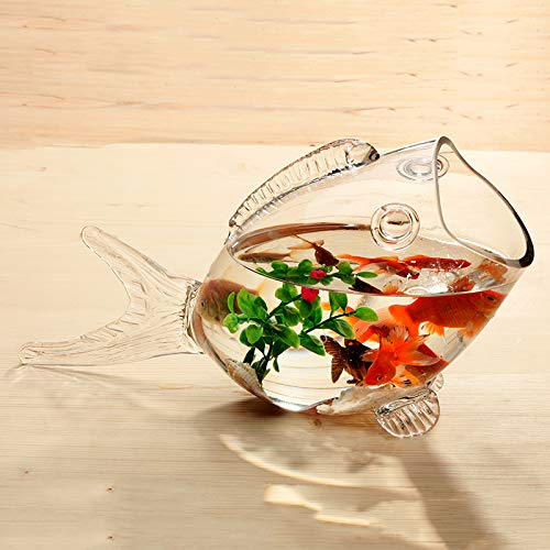 Fish glass bowl clear Transparent Glass Fish-shaped Fish Tank Aquarium Fish Tank Glass Home Living Room Office Craft Ornaments clear, S