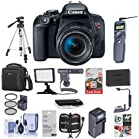 Canon EOS Rebel T7i DSLR with EF-S 18-55mm f/4-5.6 IS STM Lens - Bundle with Camera Case, 64GB SDxC Card, Spare Battery, Tripod, Remote Shutter Trigger, Video Light, ShotGun Mic, Software and More