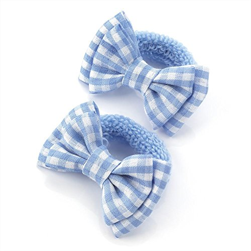 2 x 5.5cm Light Blue & White Gingham Design Bow Hair Ponio Elastics Bobbles Back to School