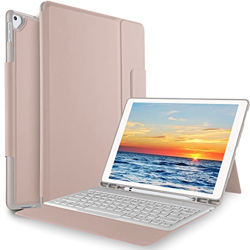 KuGi Keyboard case for ipad pro 11 - Ultra Lightweight One-Piece Wireless Keyboard Stand Case for Apple ipad pro 11 (2018 Release) - Rosegold