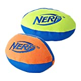 Nerf Dog (2-Pack) UltraPlush Trackshot Football Dog Toy, Orange/Blue & Green/Blue, Small