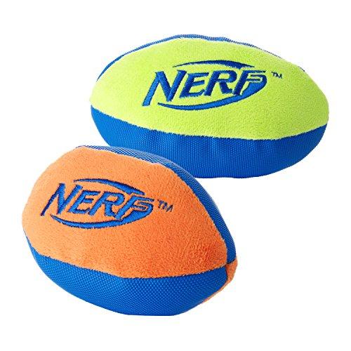 Nerf Dog  UltraPlush Trackshot Football Dog Toy, Orange/Blue