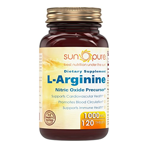Sun Pure Premium Quality L-Arginine 1000 Mg 120 Tablets Glass Bottle – Nitric Oxide Precursor * Supports Cardiovascular Health, Promotes Blood Circulation & Supports Immune Health*