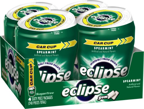 Spearmint Sugar - Eclipse Spearmint Sugarfree Gum 60 piece Bottle (Pack of 4)