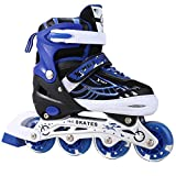 OUTCAMER Adjustable Inline Skates with Light Up Wheels Beginner Roller Fun Flashing Illuminating Roller Skates for Kids Boys and Girls - Available in Two Colors and Three Sizes.