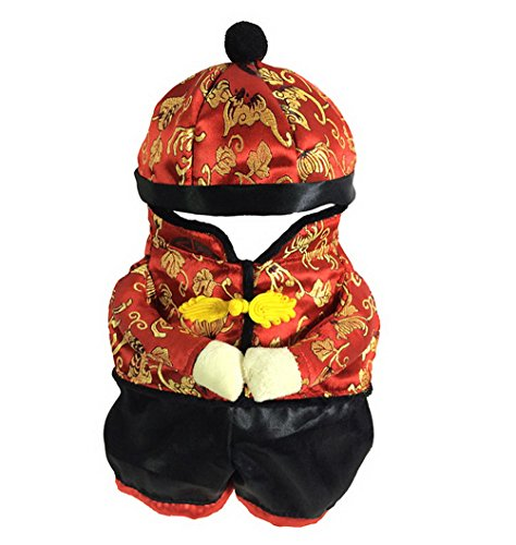 Dog New Years Costume (PETLOVE Small Dog Clothes for Winter Chinese New Year Dog Costume with Hat Dog Coat Fleece Lined Black Red L)