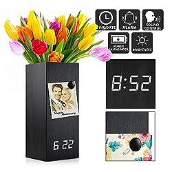 Oct17 Wooden Alarm Clock, Magnetic Wood Alarm Clock Voice Control Electric Smart LED Travel Digital Desk Clock Modern Vase - Black with White Light