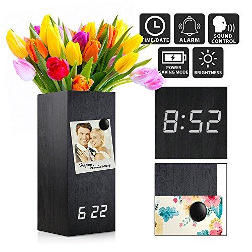 Oct17 Wooden Alarm Clock, Magnetic Wood Alarm Clock Voice Control Electric Smart LED Travel Digital Desk Clock Modern Vase - Black with White Light (Bedroom Vases)