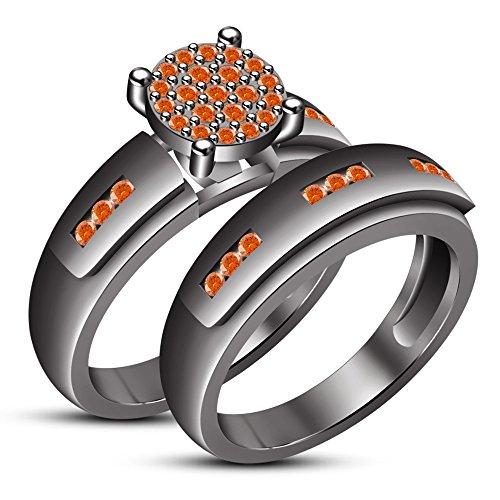 - TVS-JEWELS Black Rhodium Plated Women's Round Cut Orange Sapphire Ring Set Wedding Band (8.5)