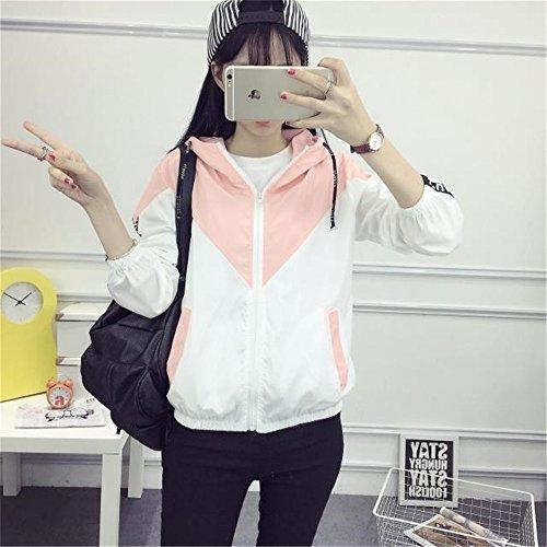 Jacket Casual Dames COCO Tops Longues Capuche clothing Femmes Sport Patchwork Manteau Rose Blouson Slim College Veste Automne Manches zzHOxa