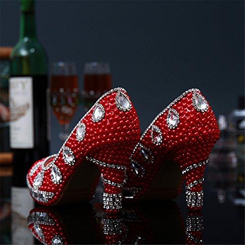 well-wreapped Beiji Ladies' Pearls Low Heels Pumps Birthday Party Wedding Shoes