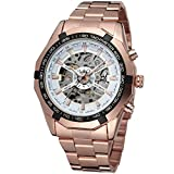 Fanmis Russian Skeleton Men's Automatic Watch Rose Gold Stainless Steel Bracelet Watch