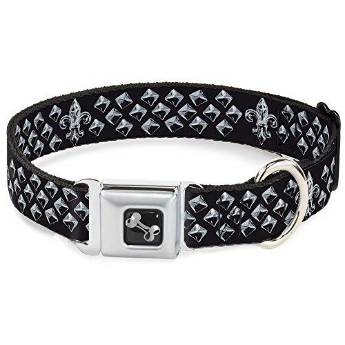 Nylon Stud (Buckle Down Seatbelt Buckle Dog Collar - Fleur-de-Lis/Studs Black/Grays)