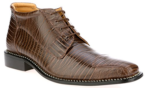 Crocodile High Top - Liberty Fortune Mens Leather High Top Lace up Dress Shoes (11, Brown)