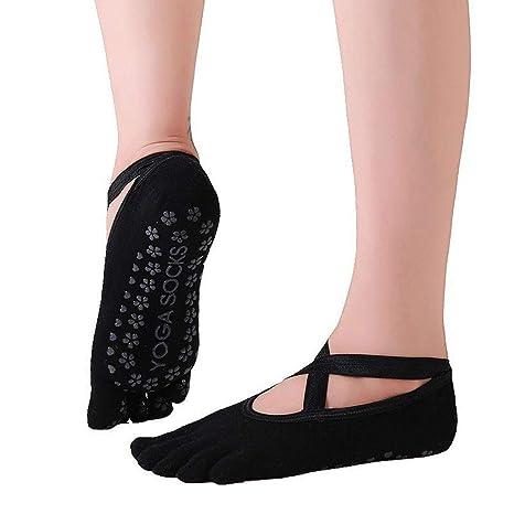 FlYHIGH Calcetines Mujeres Niñas Yoga Profesional Pilates Calcetines Zapatillas No Show Correa Cruzada de Corte bajo