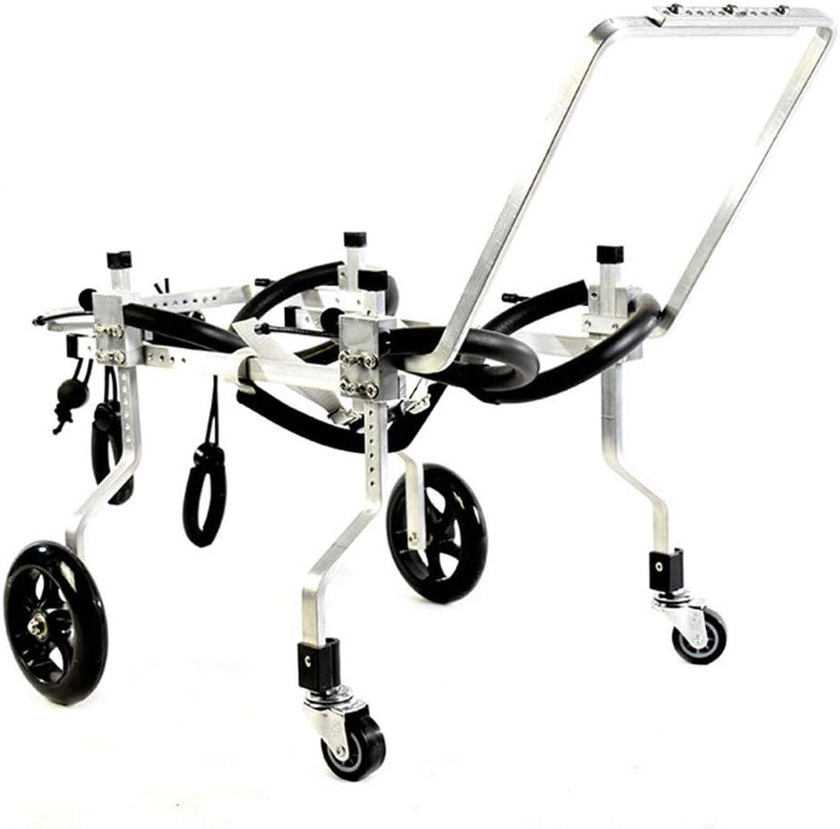 調節可能な犬用車椅子、ペット用バッグ犬用車椅子前足および後足無効身体補助車サポートフレームペット4輪スクーター,L