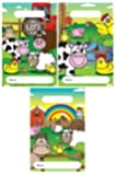 12 Farm Animal Design Childrens Party Bags / Kids Fillers Gifts Favours Toys Sweets by Party Accessories