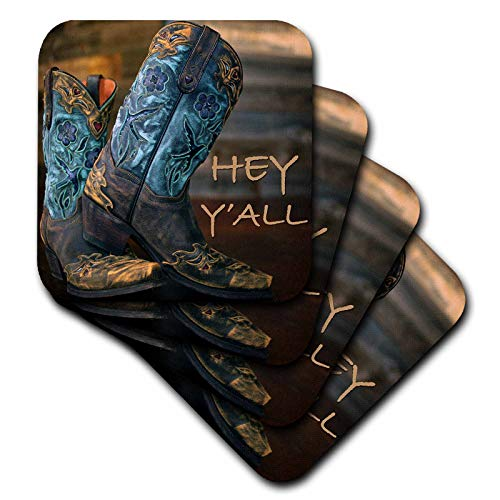 3dRose Stamp City - fashion - Photograph of cowgirl boots against a wood wall. - set of 4 Coasters - Soft (cst_289748_1)