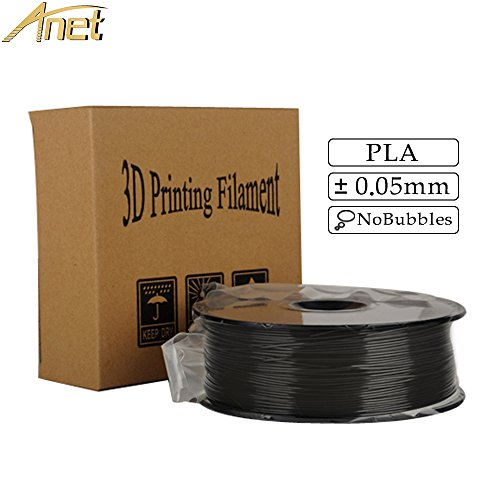 ANET 3D PLA Filament 1KG 1.75mm Black PLA 3D Printer Filament, Dimensional Accuracy +/- 0.05 mm, 1kg Spool (2.2 lbs), 1.75 mm PLA (Polylactic Acid) Black by Anet