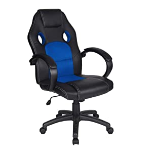 Polar Aurora Office Chair Leather Desk High Back Ergonomic Adjustable Racing Chair Task Swivel Executive Computer Chair(Blue)