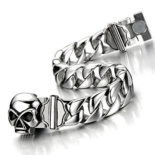 Unique Mens Stainless Steel Skull Curb Chain Bracelet Silver Color Polished with Magnetic Clasp