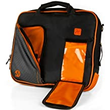 "VanGoddy Pindar Messenger Bag Case BLACK & NEON ORANGE for ASUS Transformer Pad : ( TF300T , TF300TL , TF700T , TF103C , TF701T ) 10.1"" Tablet"