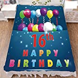 iPrint Bed Skirt Dust Ruffle Bed Wrap 3D Print,Sixteen Teenage Party Balloons Kitsch Celebration,Fashion Personality Customization adds Color to Your Bedroom. by 70.9''x94.5''