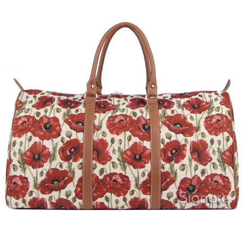 Signare Red and White Women's Fashion Canvas Tapestry Carry-on Overnight Weekender Luggage Bag Poppy Flower (BHOLD-POP)