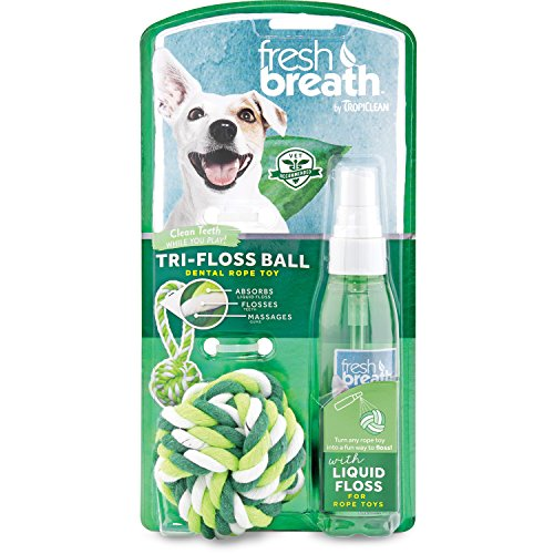 Rope Floss - TropiClean Fresh Breath Tri-Floss Rope Ball with Liquid Floss