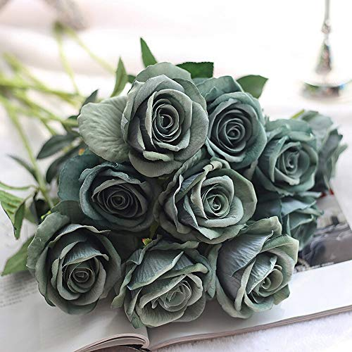 Hivot Artificial Fake Roses Flannel Flower Bridal Bouquet Wedding Party Home Decor Floral Party Wedding Craft -