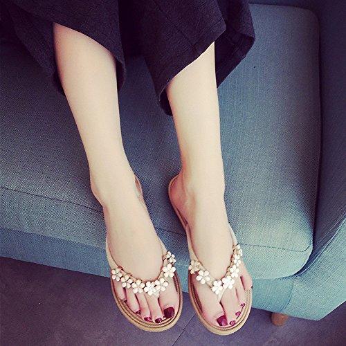 Chanclas Mujer Conveniente Zapatos Liso Zapatillas Playa Beige Casual Verano Planas Riou Sandalias De Color qqrcHTgRw