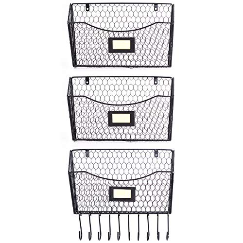 (3 Pack Wall Mounted File Holder Hanging Mesh Metal Basket Wire Magazine Rack Shelf with 10 Accessory Hooks Name Tag Slot(Black))