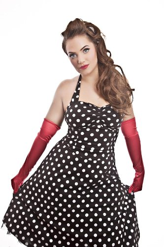 Black-or-Red-White-Polkadot-50s-Sweetheart-Swing-Halterneck-Cotton-Dress-Size-10-34
