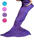 Coroler Lovely Purple Mermaid Tail Crochet Blanket All Seasons Soft Warm Sleeping Bags