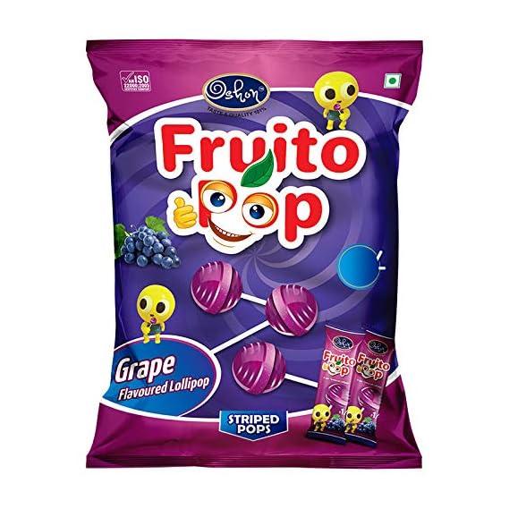 Oshon FruitoPop Rich & Tasty Juicy Grape Flavoured Striped Lollipop - 70 Lollipops Pouch