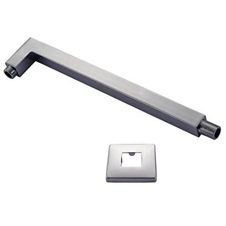 ROVATE Shower Head Extension Pipe 16u0026quot; Long With Wall Cover Shower Arm  Bathroom