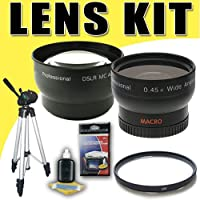 DavisMAX 2X Telephoto / 0.45X Wide Angle Lens with UV Filter Tripod Bundle for Canon 58mm Camcorders