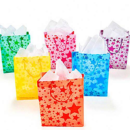 Fun Express - Assorted Color Frosted Star Gift Bag - Party Supplies - Bags - Paper Gift W & Handles - 12 Pieces -