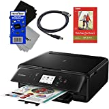 Canon PIXMA TS6020 Wireless All-in-One Compact Inkjet Printer with Print, Scan, Copy (Black) + Set of Ink Tanks + USB Printer Cable +...