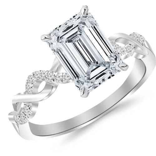 0.63 Carat Twisting Infinity Gold and Diamond Split Shank Pave Set Diamond Engagement Ring with a 0.5 Carat Emerald Cut E Color VVS1-VVS2 Clarity Center Stone